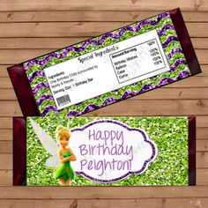 Digital TinkerbellINSPIRED Printable Birthday Party Candy Bar Wrapper, wrapper Custom Personalized FREE Thank You!