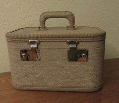 Vintage Train Case, Small Suitcase, 1950s Vintage Luggage, Hard Side Overnighter, Light Brown Carry Case, cosmetic craft case by GinnysGirlsTreasures on Etsy