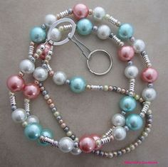 Pretty pearl lanyard for your ID badge, transportation pass, keys, cruise card and more!