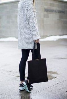 Oversized sweater black pants sneakers minimal fashion street style More
