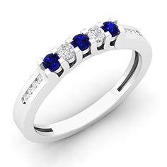 14K White Gold Round Blue Sapphire & White Diamond Ladies Wedding Stackable Guard Band (Size 5.5)