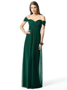 Perfect Off The Shoulder Full Length Hunter Green Bridesmaid Dresses YESU199