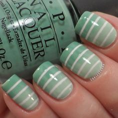 Striped green gradient using OPI- Mermaid's Tears, Zoya- Neely and Sinful Colors- Snow Me White