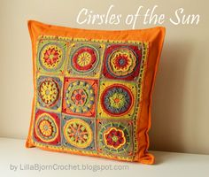 Part 10 - Circles of the Sun Mystery CAL 2015 (overlay crochet) designed by LillaBjornCrochet. During this CAL you will make a front decoration for a pillow cover consisting of 9 granny squares made in overlay crochet. Using this tutorial you will join all 9 squares and make a simple border for your pillow decoration.