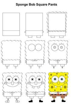SpongeBob SquarePants step-by-step tutorial. - SpongeBob SquarePants step-by-step tutorial. Easy Cartoon Drawings, Easy Drawings For Kids, Cool Art Drawings, Art Drawings Sketches, Doodle Drawings, Simple Drawings, Drawing Ideas, Easy Disney Drawings, Disney Character Drawings