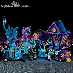Nightmare Before Christmas Black Light Village And Figurines for Tyler's Halloween village Tabletop Christmas Tree, Outdoor Christmas Decorations, Halloween Decorations, Halloween Town, Halloween Makeup, Halloween Ideas, Diy Halloween Village, Halloween Magic, Halloween Queen