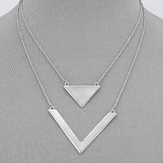 """♥FASHIONABLE AND DAINTY, SIMPLE DOUBLE LAYERED SILVER CHAIN NECKLACE WITH TRIANGLE DESIGN PENDANTS. ♥ Approx: 19.0""""(L)."""