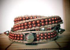 Natural leather wrap bracelet with spikes/ earthy jewelry/ boho chic /rock chic/ triple wrap bracelet by So cliché jewelry  https://www.facebook.com/soclichejewelry