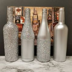 Set of 4 - Metallic GLITTER Sparkling Wedding Bridal Party Centerpiece Wine Bottles or Home Holiday decor Gold, Silver, Champagne, Rose Gold Wine Bottle Centerpieces, Wedding Wine Bottles, Bridal Shower Centerpieces, Wine Bottle Art, Diy Bottle, Wine Bottle Crafts, Sparkle Wedding, Bottle Painting, Gold Glitter