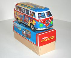 ICHIKO 80'S 10.5 INCHES JAPAN FRICTION TIN VOLKSWAGEN TRANSPORTER MICRO-BUS ZOO IN BOX