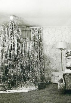 +~+~ Vintage Photograph ~+~+  Mounds of tinsel to the tippy top of the tree