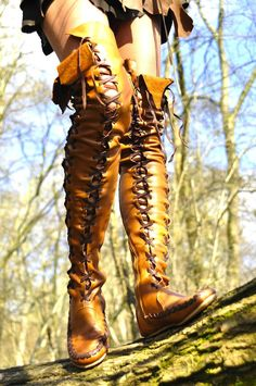 Mischievous Fairy Tan Leather Boots with Brown Lacing Over the Knee Lenght, elfpunk