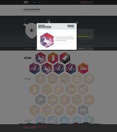 iFit achievement page + badges on Behance