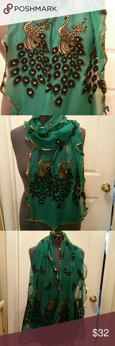 NWOT Teal Raised Peacock Print Scarf Size:  Gold Metallic thread throughout the scarf 17 Sundays Accessories Scarves & Wraps