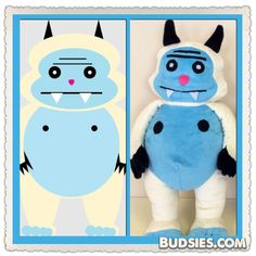 Make a stuffed animal from a drawing! Budsies inspires creativity.. Like these yetis!! Www.budsies.com