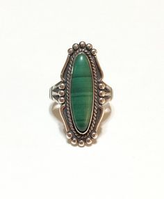 Navajo Sterling Silver and Malachite Ring by GracesVintageGarden