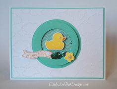Sweet duckie shaker card for baby.  Love the matching Coastal Cabana paper and sequins.  Also the embossed clouds on the base card.  DIY baby card.