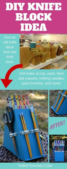DIY knife block ideas - Find an old knife block from the thrift store and make a DIY knife block for holding crayons, knitting needles, and more!