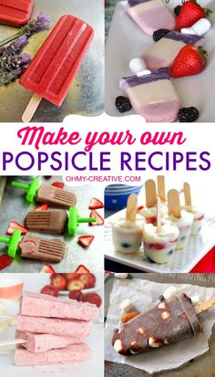Nothing tastes better in the summer than a frozen treat! Perfect on a summer afternoon or after dinner dessert! Here are 11 Make Your Own Popsicle Recipes to help you on your way to creating a yummy popsicle that the kids will love…adults too! While many of these are made using popsicle forms any of these can be made using small plastic or paper cups and popsicle sticks! OHMY-CREATIVE.COM #popsiclerecipes #homemadepopsicles #fruitpopsicles #strawberryrecipes #homemadefruitpopsicles Mini Desserts, Frozen Desserts, Frozen Treats, Delicious Desserts, Yummy Food, Oreo Dessert, Sorbet, Gelato, Homemade Fruit Popsicles