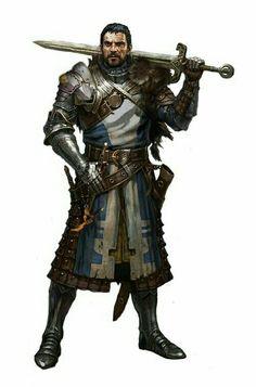 Human Knight Fighter - Pathfinder PFRPG DND D&D d20 fantasy