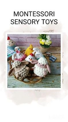 Toddler sensory toys gift - Waldorf Montessori Basket: Bunny, chicken, hen and sheep toy. Baby's first gifts. Handmade Ideas, Handmade Toys, Etsy Handmade, Handmade Crafts, Sensory Games, Sensory Toys, Farm Animal Toys, Farm Animals, Toddler Preschool