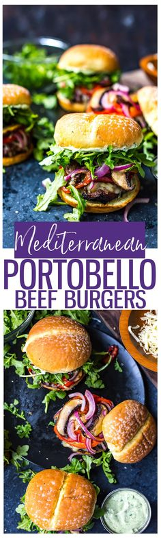Mediterranean Portobello Beef Burgers are a healthy BBQ recipe | Garlic and herb cheese |  Roasted red peppers, arugula and basil mayo