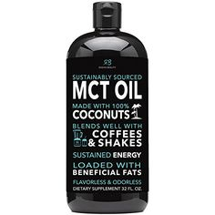 Radha MCT Oil made only from Organic & Sustainable Coconuts – 32oz BPA free bottle. Non-GMO and Gluten Free