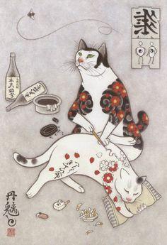 japanese-tattoo-paintings-monmon-cats-kazuaki-horitomo-36