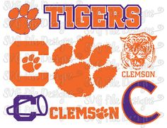 Clemson University Fighting Tigers Layered Football Logo Cutting File / Clipart Set in Svg, Eps, Dxf, Png, & Jpeg for Cricut and Silhouette