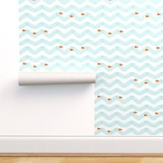 Gold Fish - Spoonflower Stick On Wallpaper, Fish Wallpaper, Adhesive Wallpaper, Perfect Wallpaper, Custom Wallpaper, Nautical Wallpaper, Watercolor Water, Prepasted Wallpaper, Drawer And Shelf Liners