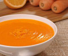 Soupe de carotte à l'orange, au gingembre et au cumin.