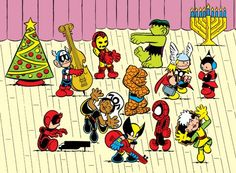 Merry Christmas from the Peanuts, er, Marvel Gang