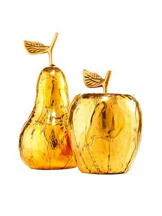 Gold pear and apple - Home decor accents