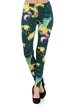 Lady's Green Galactica Printed Leggings