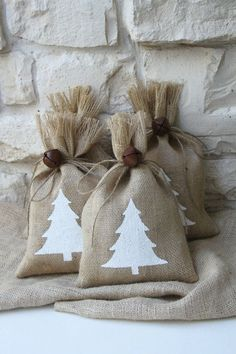Burlap Gift Bags Christmas Tree Shabby Chic by FourRDesigns