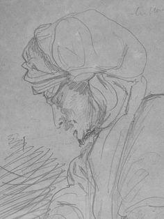 CHASSERIAU Théodore,1846 - Deux Arabes enturbannés - drawing - Détail 18 - Homme pensif - Thoughtful man -