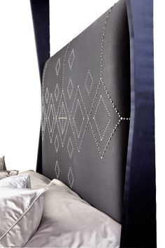 Arabian Nights - A close up of our luxurious Headboard, embellished with pearl and silver stud detail