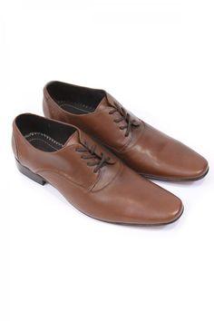 Zapato de Piel Para Hombre Color Cafe