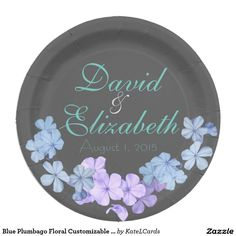 Blue Plumbago Floral Customizable Name Or Monogram 9 Inch Paper Plate