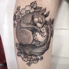 squirrel, hedgehog, woodland, animal, tattoo