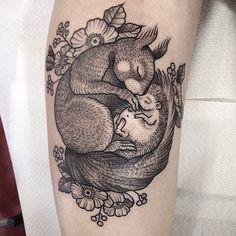 squirrel, hedgehog, woodland, animal, tattoo