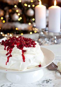 Pavlova with Pomegranate and Cranberry Sauce