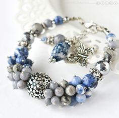 Купить Браслет из натуральных камней «Зимний сон» - серый, голубой, серо-голубой, серо-синий