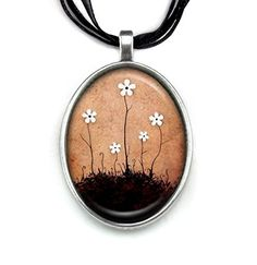 Together We Grow - Painting Pendant by Carly Landry  http://amzn.to/2libX6z  #flowers #pendant #necklace #fashion #jewelry #painting #brown #tan #beige #black #family #babysbreath #white #sweet #valentine #cute #pretty #growing #usa #gift #anniversary #5 #present #daisies #garden #floral #wedding #flowergirl