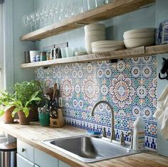 Nice tiles subway tiles backsplash colorful aqua blue orange mandala open shelf shelving kitchen house plants wood counter