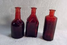 Small Antique Red Wheaton Medical Bottles