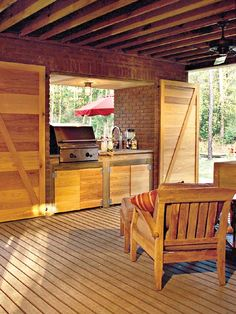 built-in grill on a deck