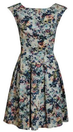 Closet Vintage Rose Print Tea Dress: Multi-Coloured: from www.peppermint.uk.com