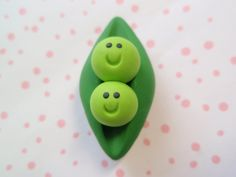 PEAS in a POD Magnet - Handsculpted Polymer Clay Magnet from MBG. $5,00, via Etsy.