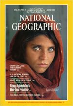 "Afghan Girl-- is a 1984 photographic portrait by journalist Steve McCurry which appeared on the June 1985 cover of National Geographic. The image is of a young woman with green eyes in a red headscarf looking intently at the camera. It has been likened to Leonardo da Vinci's painting of the Mona Lisa[1][2] and has been called ""the First World's Third World Mona Lisa"". The image became ""emblematic"" of ""refugee girl/woman located in some distant camp"" deserving of the compassion of the Western"